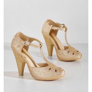 ModCloth Metallic Heel in Glittery Gold
